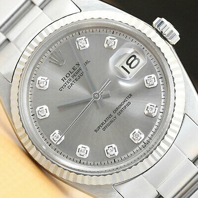 $ CDN5426.63 • Buy MENS ROLEX DATEJUST GRAY DIAMOND 18K WHITE GOLD/SS STEEL WATCH W/OYSTER BAND
