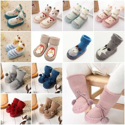 Baby Boy Girl Kids Cute Cartoon Toddler Anti-slip Sock Shoes Boots Slipper Socks • 3.59£