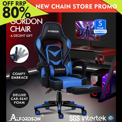 AU159.85 • Buy ALFORDSON Gaming Chair Office Seat Thick Padding Footrest Executive Racing Blue