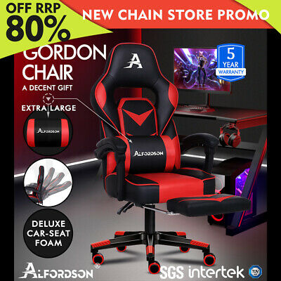 AU159.85 • Buy ALFORDSON Gaming Chair Office Seat Thick Padding Footrest Executive Racing Red