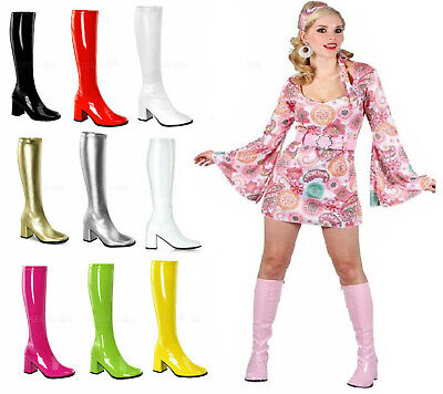 New Ladies Fancy Dress Sexy Go Go Knee High Boots Cool 60's 70s Party Sizes 3-12 • 18.99£