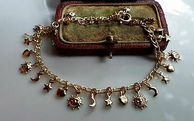 GENUINE 9ct Gold Gf Charm Bracelet, PACKED FULL OF CHARMS { 0006CH }  • 24.95£