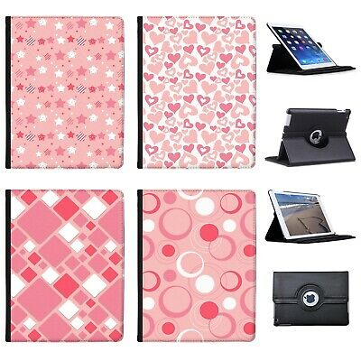 £9.99 • Buy Azzumo Baby Pink Stars Hearts Squares Circles PU Leather Case For Apple IPad