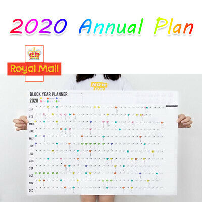 2020 Year Wall Planner Yearly Annual Calendar Chart A2 Large Stickers Schedule • 3.09£