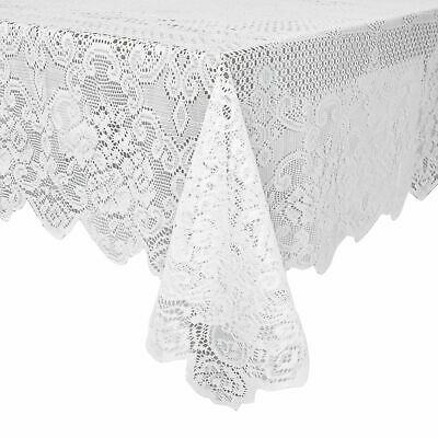 $11.99 • Buy White Lace Rectangular Tablecloth Elegant Floral Table Cloth For Parties 60 X97
