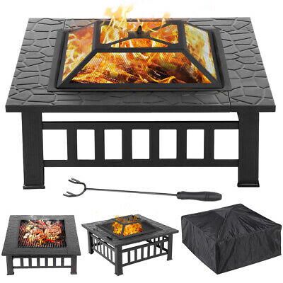 32'' Outdoor Garden BBQ Fire Pit Large Firepit Brazier Square Stove Patio Heater • 125.99£