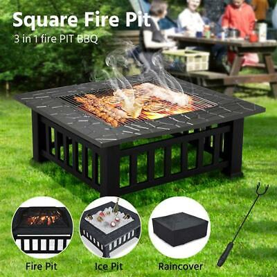 £97.69 • Buy 32'' Outdoor Garden Fire Pit Large 3in1Firepit Brazier Square Stove Patio Heater