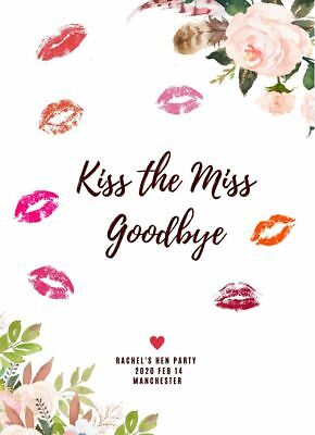 £3.99 • Buy Personalised Kiss The Miss Goodbye Hen Do Party Game Gift Keepsake A4 Print