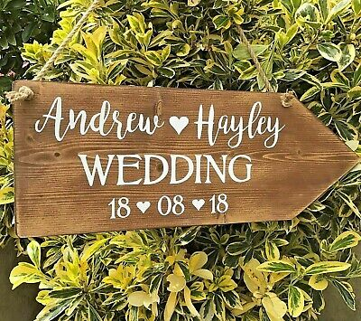 Wedding Welcome Sign Personalised Large Rustic Wooden Wedding This Way Arrow  • 19.99£