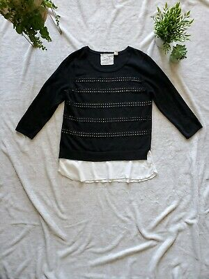 $ CDN30 • Buy Anthropologie Medium Black And White Cotton Cashmere Angel Of The North Sweater