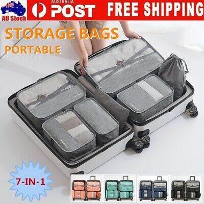 AU16.99 • Buy 7Pcs Packing Cubes Travel Pouches Luggage Organiser Clothes Suitcase Storage Bag