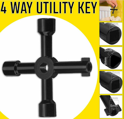 4 WAY Multi Utility Box Key Gas Meter Electricity Plumbing Stop Cocks Triangle • 2.35£