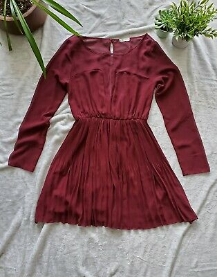 $ CDN30 • Buy Anthropologie Everly Medium Burgundy Berry Pleated Cinched Waist Sheer Dress