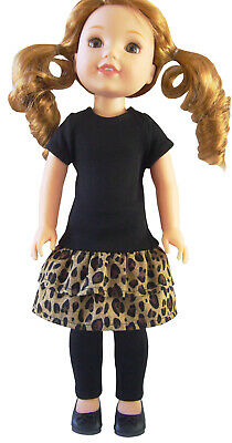 £17.44 • Buy Black Leopard Print Dress Leggings Shoes For 14.5  WELLIE WISHERS Doll Clothes
