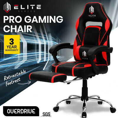 AU259 • Buy OVERDRIVE Gaming Chair Racing Computer PC Seat Office Reclining Footrest Red