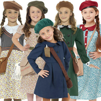 Wartime Girls Fancy Dress History 30s 40s Book Day Week Kids Childs Costumes New • 7.99£