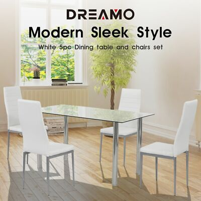 AU229 • Buy 4/5PC Indoor White Dining Set Kitchen Table & Chairs Glass Table