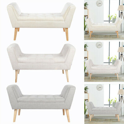 Velvet/Linen Bed End Window Seat Ottoman Bench Pouffe Stool Chair Living Bedroom • 191.94£