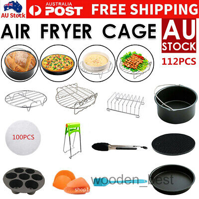 AU35.92 • Buy 112 PCS 8  Air Fryer Frying Cage Dish Baking Pan Rack Pizza Tray Pot Accessories