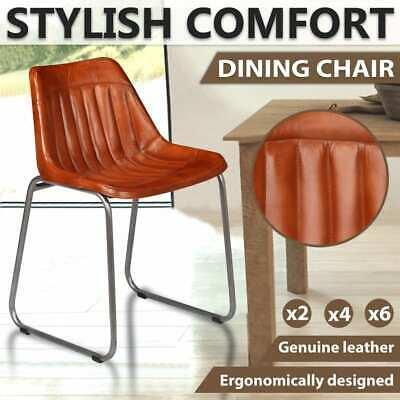 AU272.99 • Buy VidaXL 2/4/6x Dining Chairs Genuine Leather With Stripes Brown Home Furniture