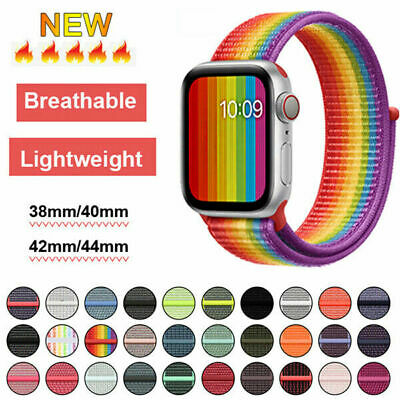 AU11.99 • Buy Nylon Sports Loop IWatch Band Strap For Apple Watch Series 5/4/3/2 44/42/40/38mm