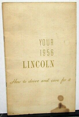 $37.80 • Buy 1956 Lincoln Owners Manual Care & Operations Maintenance Original