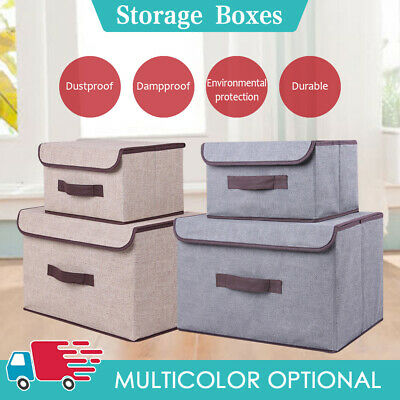 Foldable Canvas Storage Box Fabric Folding Clothes Square Basket With Lid Box • 6.59£