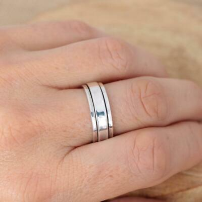 Mens Womens Plain 925 Sterling Silver Spinning Worry Band Ring 6mm Thumb Ring • 19.95£
