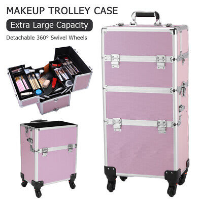 3-in-1 Aluminum Rolling Makeup Train Case Professional Beauty Cosmetic Carry US • 85.49$