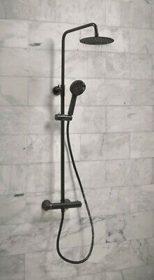 Bathroom Thermostatic Mixer Shower Set Round Matte Black Twin Head Exposed Valve • 97.95£