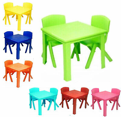 Toddlers Kids Chairs And Table Set Strong Plastic Study Play Table Study Garden  • 26.99£