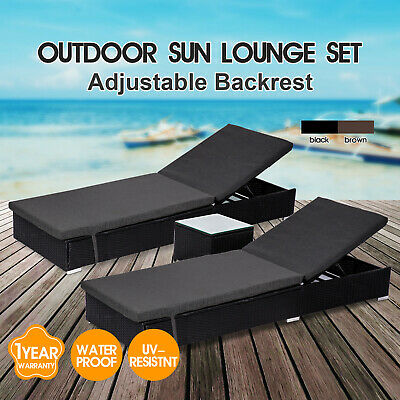 AU469 • Buy Outdoor Furniture PE Wicker Sun Lounge Pool Chair Becah Daybed