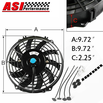 AU39 • Buy 9 INCH PULL PUSH RADIATOR Electirc Thermo For Curved Blade FAN+MOUNTING KITS 12V