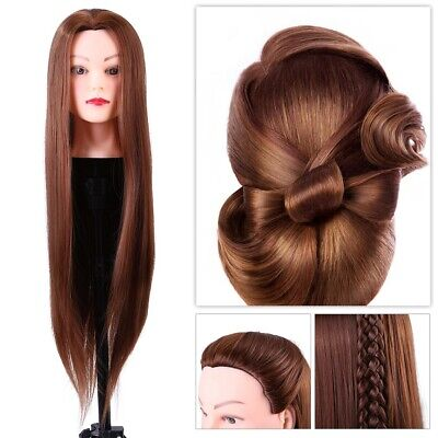 £11.08 • Buy 24'' Hairdressing Training Head Model 30% Real Human Hair Mannequin Doll Clamp