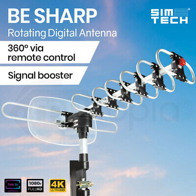 AU42 • Buy Outdoor TV Antenna Digital Rotating HD Amplified Aerial Signal Booster Remote