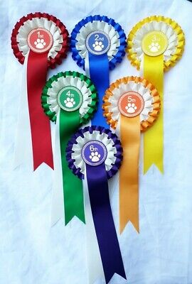 £2.55 • Buy Dog Show Rosettes, 1st To 6th Place Or 1st To 3rd Place, Dog, Puppy Rosettes