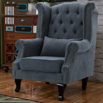 £249.95 • Buy Chesterfield Queen Anne High Wing Back Fireside Armchair Chair Fabric Seat Grey