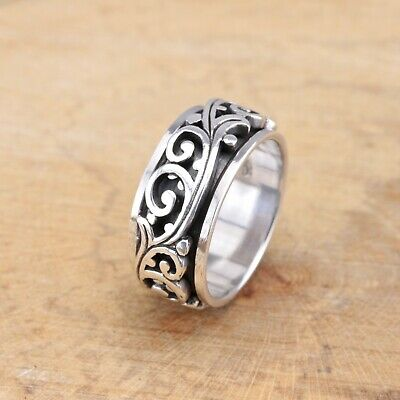Mens Womens 925 Sterling Silver Vines Scrolls Spinning Worry Band Thumb Ring • 24.95£