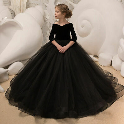 £48.57 • Buy Black Ball Gown Flower Girl Dresses Little Girls Party Dress Black Pageant Gowns