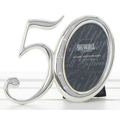 £8.99 • Buy 50th Birthday Number Photo Frame Silver Diamante Detailing Gift