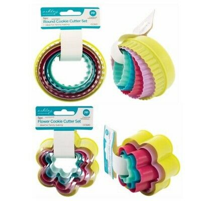2 Sets Of Cookie Cutters One Round Set One Flower Set 5 Of Each Multi Colours • 4.49£