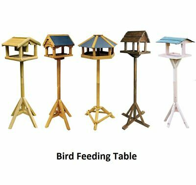 £17.95 • Buy Easy Assembly Wooden Bird Table Natural Home Feeding Station Garden Feeder