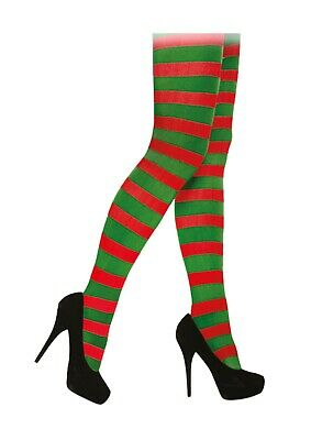 Elf Tights Red Green Striped Christmas Stripy Ladies Xmas Novelty Fancy Dress • 4.49£