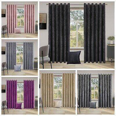 Crushed Velvet Curtains PAIR Of Eyelet Ring Top Fully Lined Ready Made UK • 31.49£