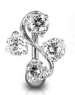 £3.97 • Buy Clear Crystal Reverse Top Down Belly Bar Navel Ring Body Jewellery Piercing