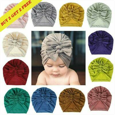 Toddler Kid Baby Boy Girl Infant Knotted Beanie Turban Hat Cotton Cap Head Wrap* • 4.59£