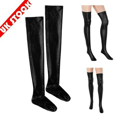 UKWomen Leather Stockings PVC High Tights Wet Look Hold-Ups Long Socks Clubwear • 6.35£