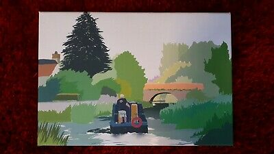 £25 • Buy Canal Boat On The Bridgwater And Taunton Canal,Canvas Art Print, 16  X 11 .