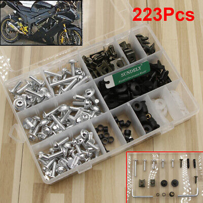 223x Silver Motorcycle Sportbike Fairing Bolt Kit Body Fasteners Clip Screws Set • 15.94£