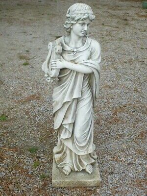 Superb Maiden Young Lady Holding Harp Garden Statue 114cm Tall • 98£